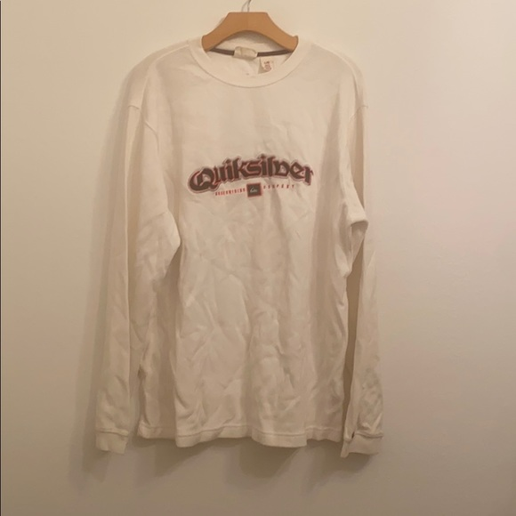 QUIKSILVER White Long Sleeve Graphic Shirt Size L
